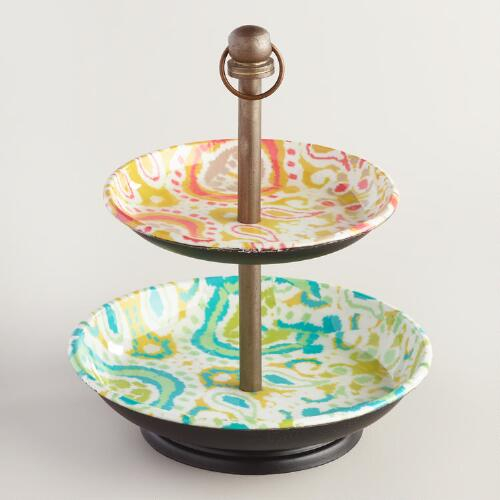 Ikat Enameled Two Tier Jewelry Stand