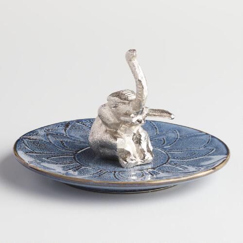 Blue Elephant Jewelry Dish and Ring Holder