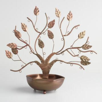 Bronze Tree with Bowl Jewelry Stand