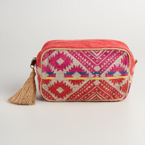 Large Red Jute Cosmetic Pouch