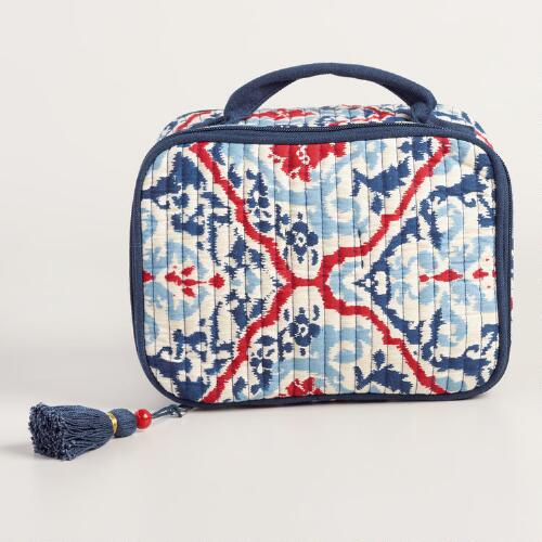 Large Red Blue and White Quilted Cosmetic Pouch