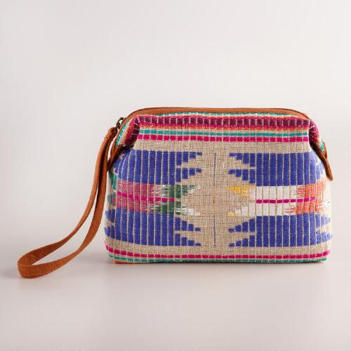 Jute Mulitcolor Tribal Cosmetic Pouch