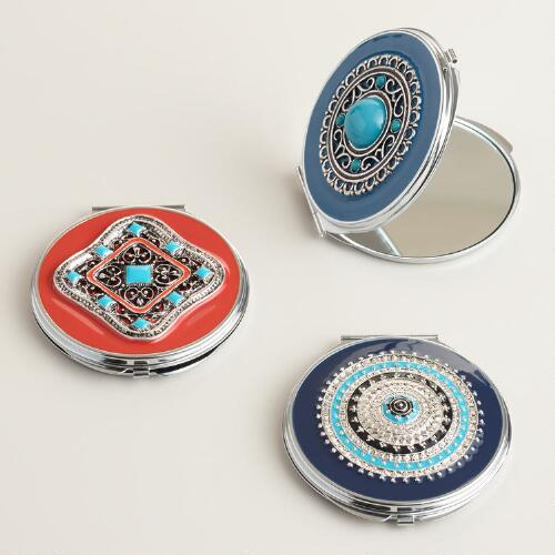 Silver Compact Mirrors Set of 3