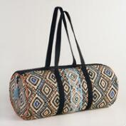 Black and Coral Geometric Weekender Bag