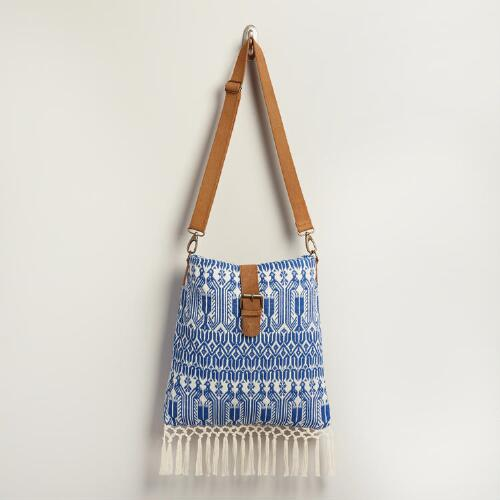 Ivory and Blue Geometric Tote Bag