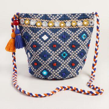 Small Blue and Orange Bucket Bag