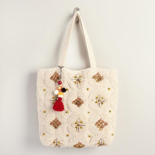 Ivory Shell Tote Bag