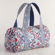 Red Blue and White Quilted Weekender Bag