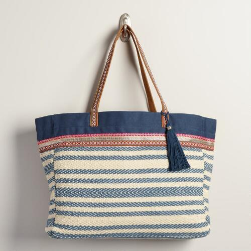 Blue and Ivory Woven Tote Bag