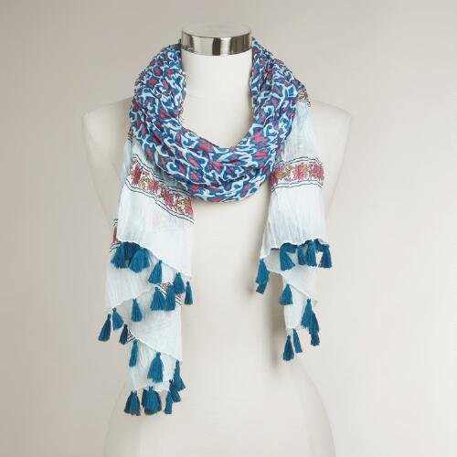 Blue and Pink Scarf with Tassels