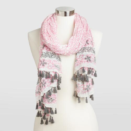 Gray and Pink Scarf with Tassels