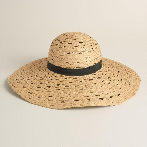 Open Weave Sun Hat With Black Band