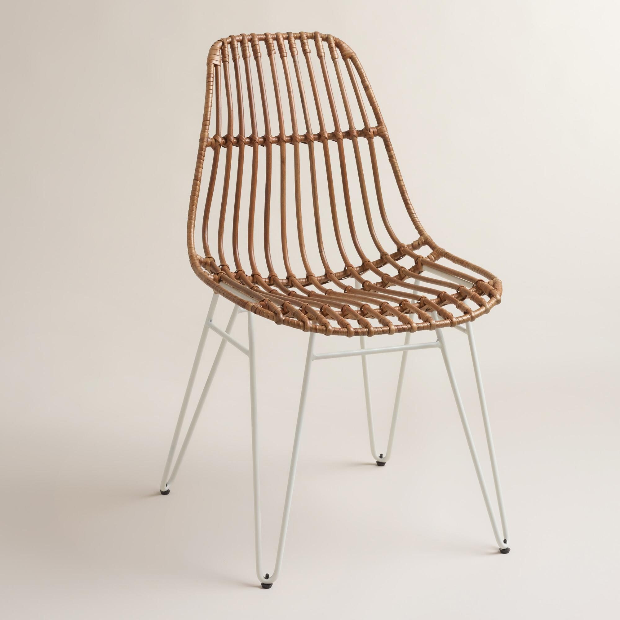 Rattan Flynn Hairpin Dining Chairs With White Legs Set Of