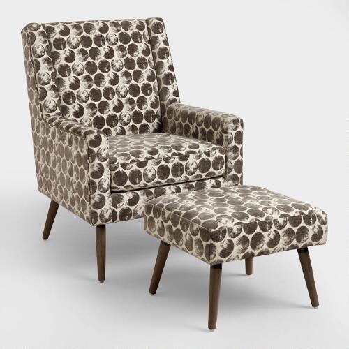 Echo Smoke Horton Upholstered Chair and Stool Set
