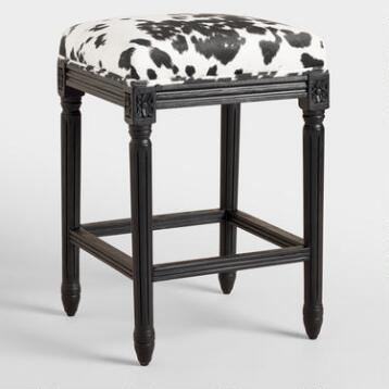Domino Black Frame Paige Backless Counter Stool