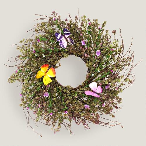 Live Herb Wreath with Faux Butterflies