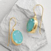 Gold Aqua Glass Drop Earrings