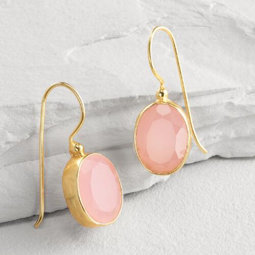 Gold Rose Glass Drop Earrings