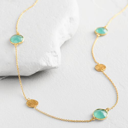 Gold Faceted Aqua Stone Necklace