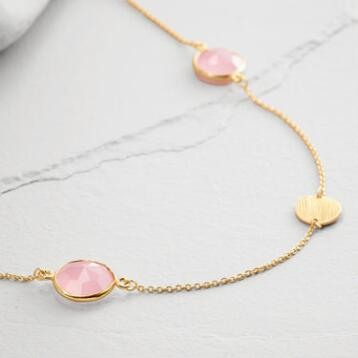 Gold Faceted Rose Stone Necklace
