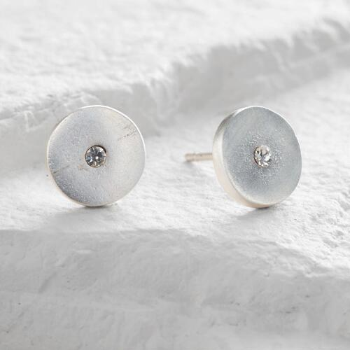 Round Silver Rhinestone Stud Earrings