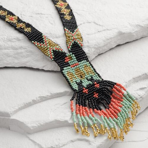 Black, Mint and Coral Fringe Seed Bead Statement Necklace