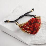 Red and Gold Bead Friendship Bracelet