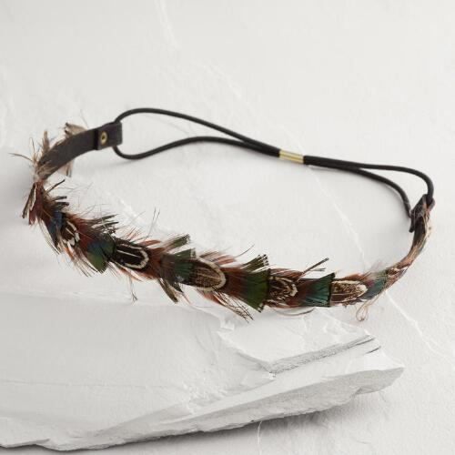 Brown and Green Feathers Headband