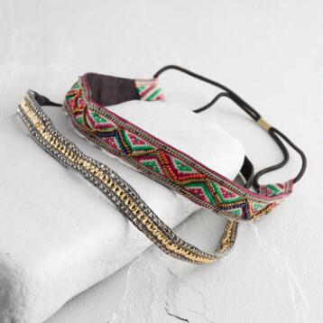 Woven Metal and Bead Headbands Set of 2