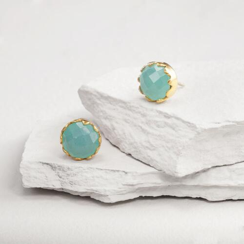 Gold Aqua Chalcedony Stud Earrings