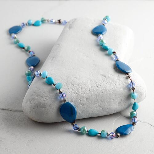Blue and Turquoise Beaded String Necklace