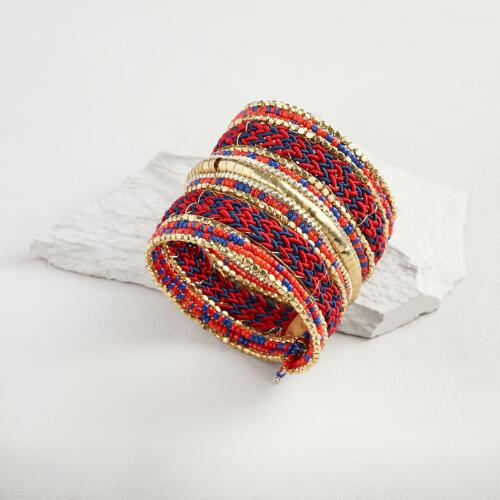 Red and Blue Long Woven Cuff Bracelet