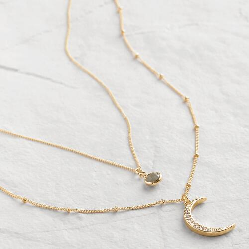 Gold Crescent Moon and Labradorite Necklaces Set of 2