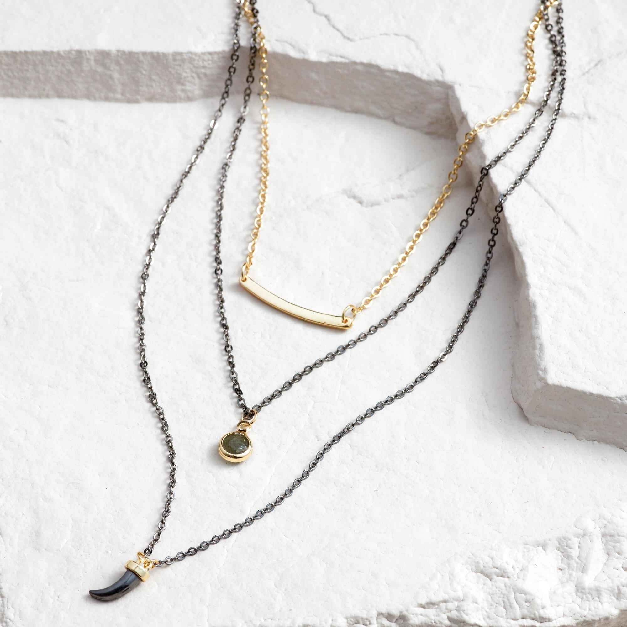Gold Black, Labradorite and Horn Necklaces Set of 3