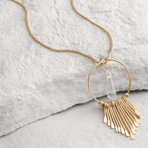 Gold Spoke Crystal Pendant Necklace