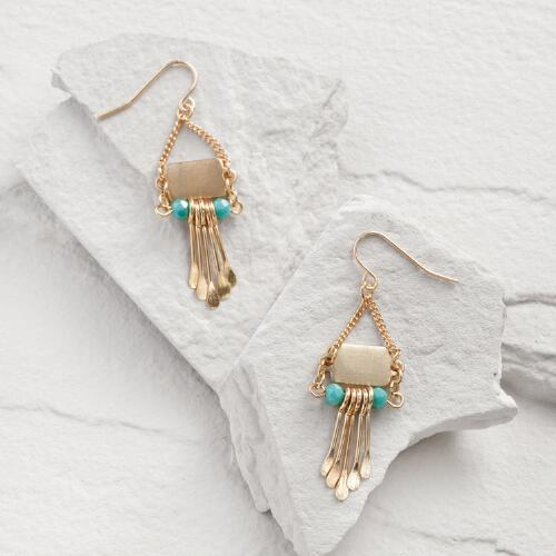 Gold and Turquoise Spoke Earrings