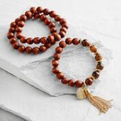 Wood and Tiger's Eye Hamsa Charm Bracelets Set of 3