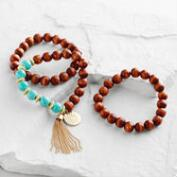 Wood and Turquoise Buddha Charm Bracelets Set of 3