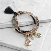 Black Buddha Charm Stretch Bracelets Set of 3