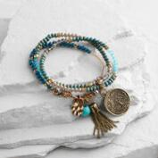 Wood and Turquoise Buddha and Tree of Life Bracelet Set of 3