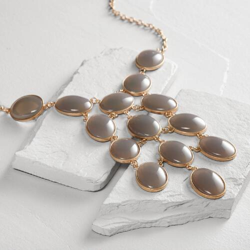 Gold Gray Cascade Statement Necklace