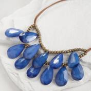 Dark Blue Teardrop Suede Necklace