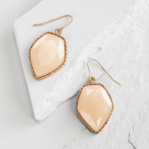 Large Gold Blush Stone Drop Earrings