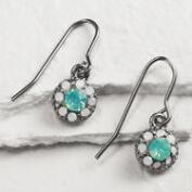 Hematite and White Opal Earrings