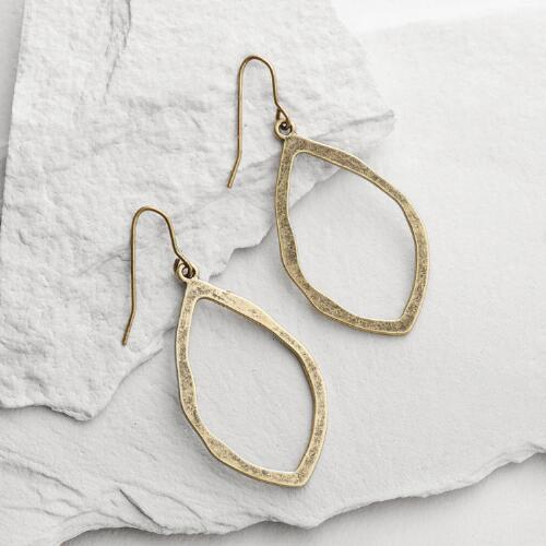 Antique Style Gold Hammered Drop Earrings