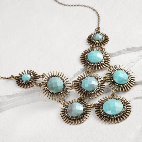 Gold and Turquoise Starburst Statement Necklace