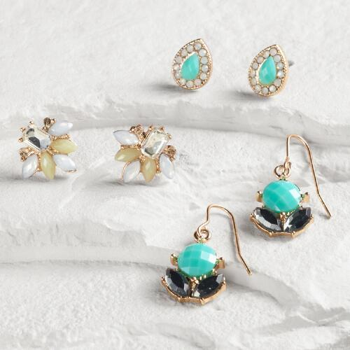 Gold Turquoise Stud Earrings Set of 3