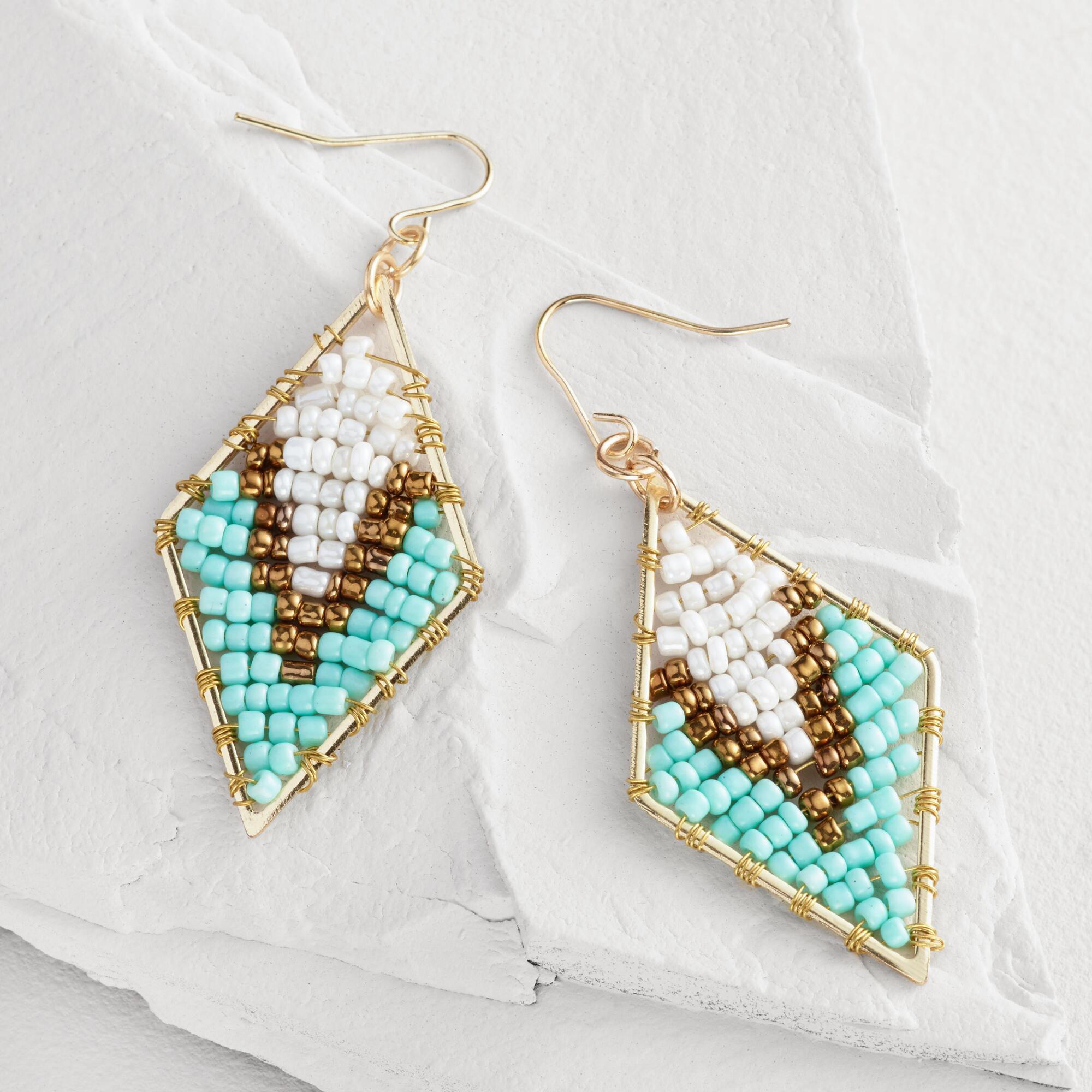 Triangle Earrings: Turquoise And Bronze Beaded Triangle Drop Earrings