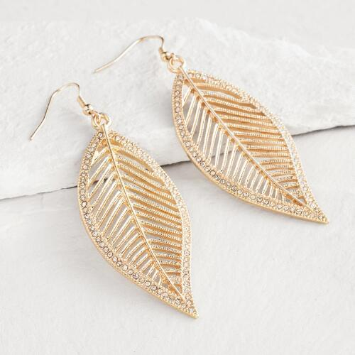 Gold Leaf and Rhinestone Drop Earrings