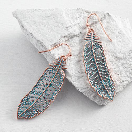 Blue Patina Feather Earrings